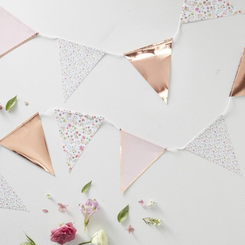 Rose Gold Foiled Floral Print Bunting Banner - Ellie and Piper