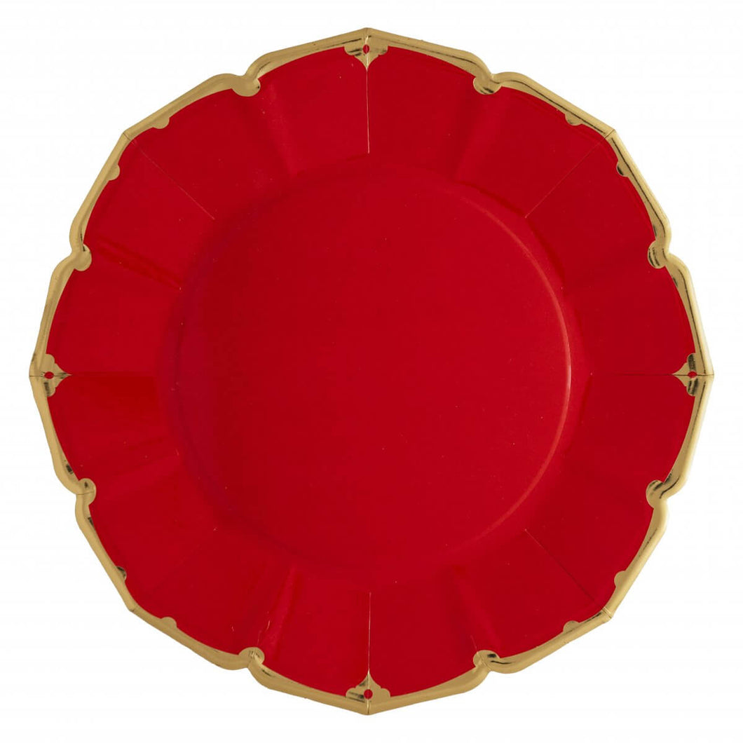 Ornate Ruby Red Dinner Paper Plates - Ellie and Piper