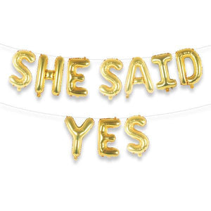 "SHE SAID YES 16"" Gold Foil Letter Balloon Banner Kit - Ellie and Piper"