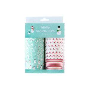 Snowman and Candy Cane Stripes Food Cups (Set of 50) - Ellie and Piper