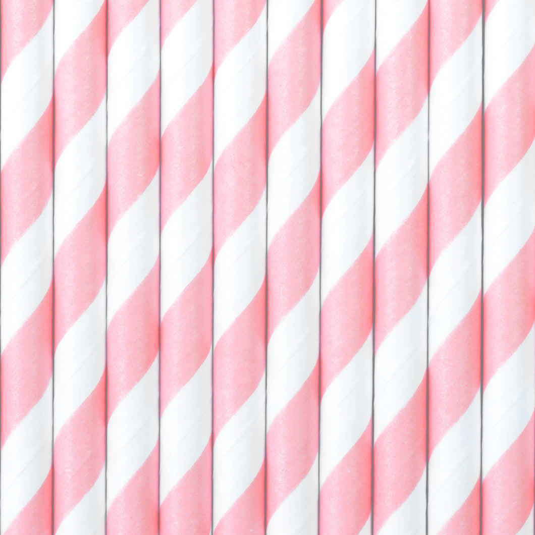 Light Pink Stripe Straws - Ellie and Piper
