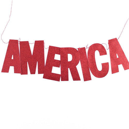 Red Glitter America Banner Ellie & Piper Party Boutique