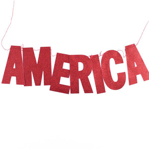 Red Glitter America Banner - Ellie and Piper