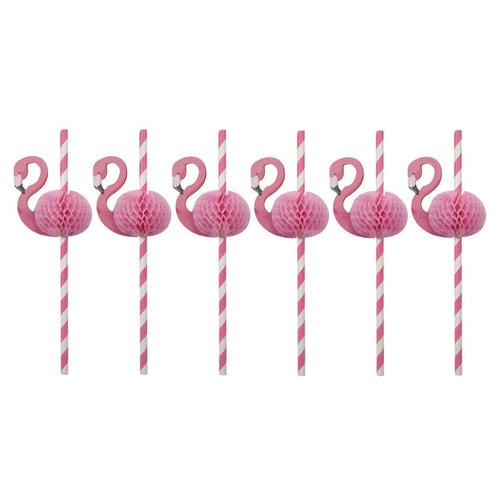 FLAMINGO HONEYCOMB STRAWS TROPICAL PARTY ELLIE AND PIPER PARTY BOUTIQUE SUNNY LIFE