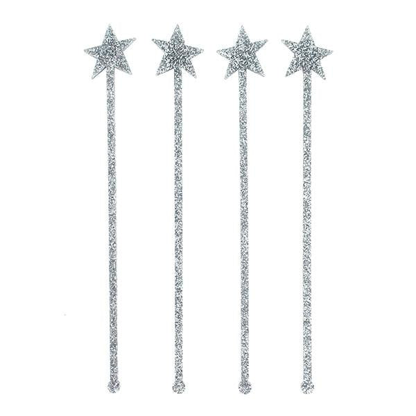 Silver Glitter Star Drink Stirrers - Ellie and Piper