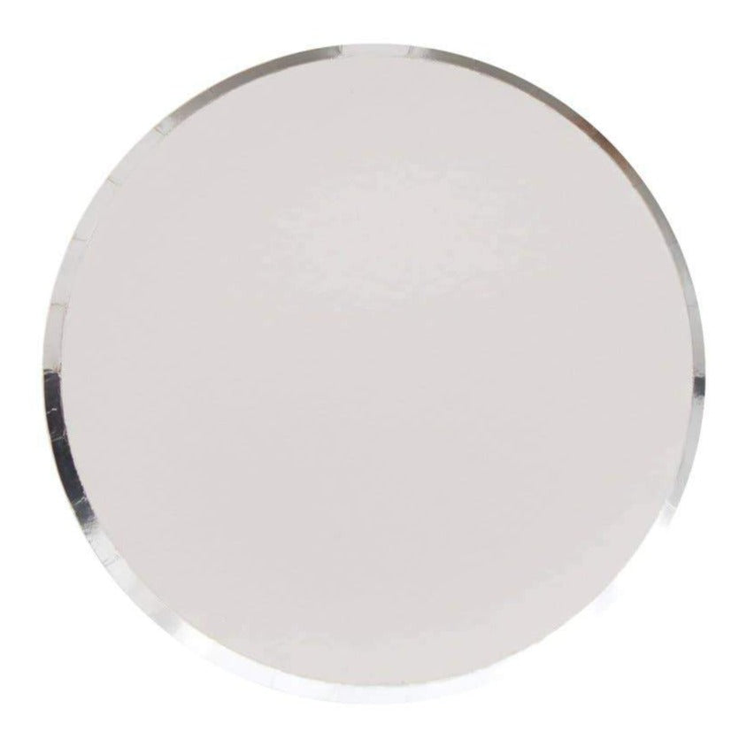 Metallic Silver Paper Plates (2 sizes) - Ellie and Piper