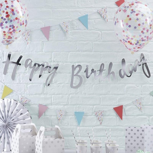 Silver Happy Birthday Banner