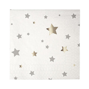 Silver Star Confetti Small Cocktail Napkins