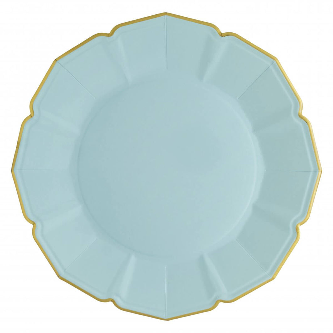 Ornate Sky Blue Dinner Paper Plates - Ellie and Piper