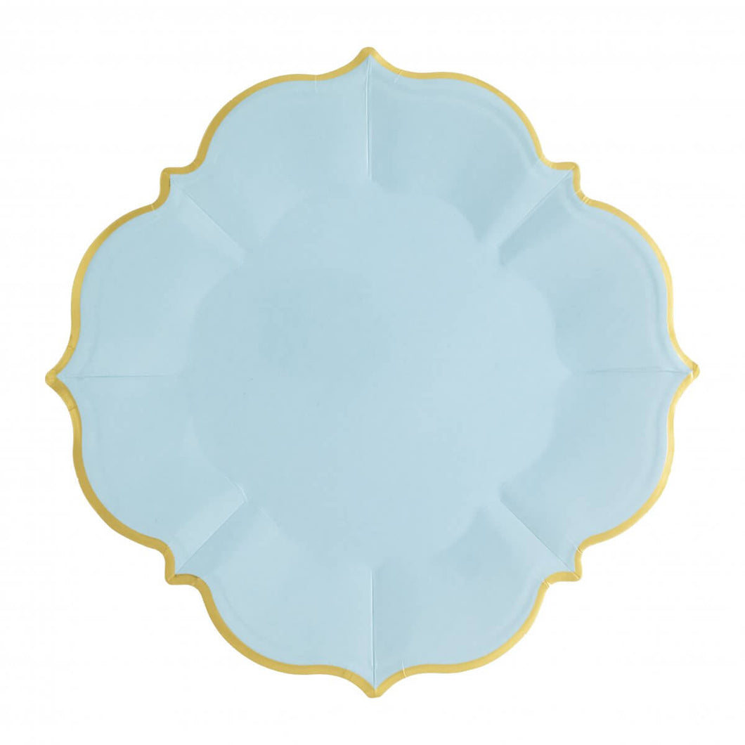 Ornate Sky Blue Lunch Paper Plates - Ellie and Piper