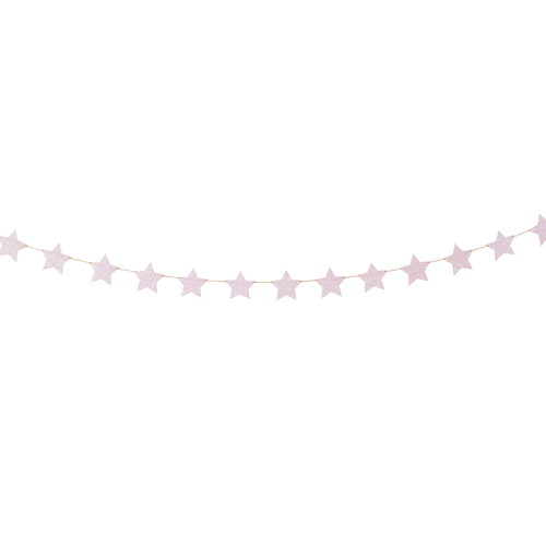 Iridescent Light Pink Glittery Shining Stars Garland
