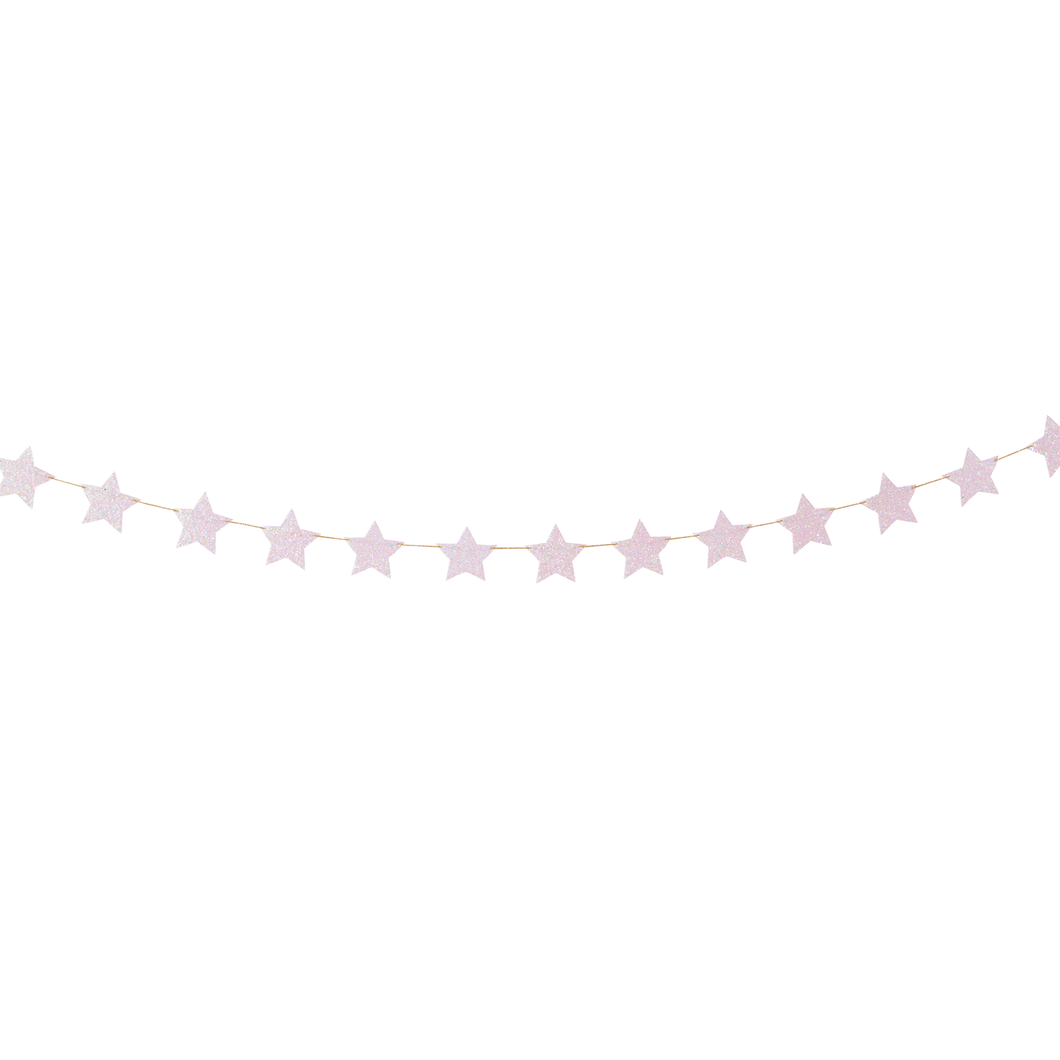 Iridescent Light Pink Glittery Shining Stars Garland - Ellie and Piper