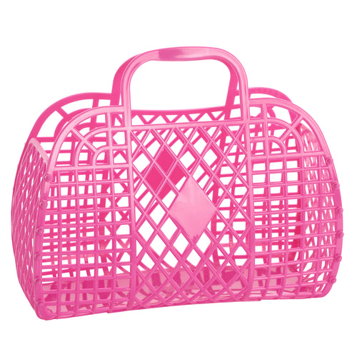 Large Retro Basket - Berry Pink - Ellie and Piper