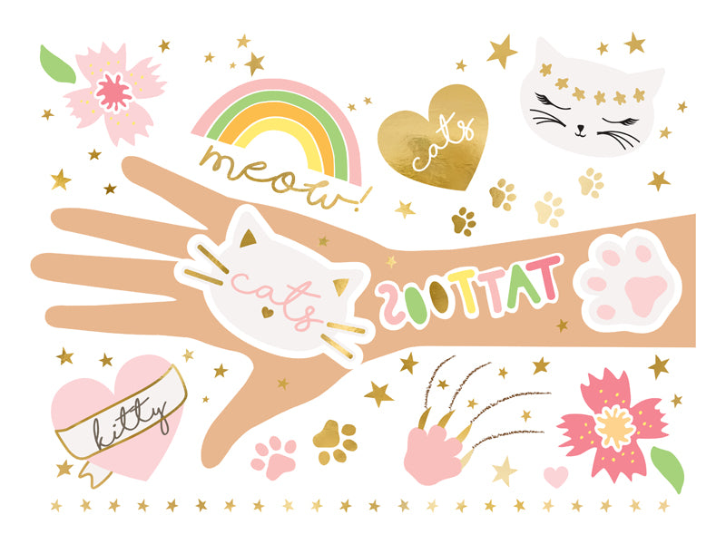 Kitty Cat Lover Temporary Tattoos - Ellie and Piper