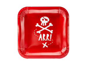 Red Pirates Party Square Paper Plates - Ellie and Piper