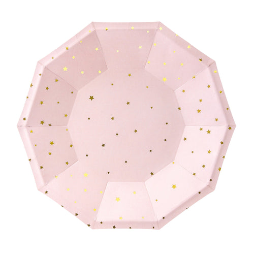 Light Pink with Gold Stars Small Paper Plates - Ellie and Piper