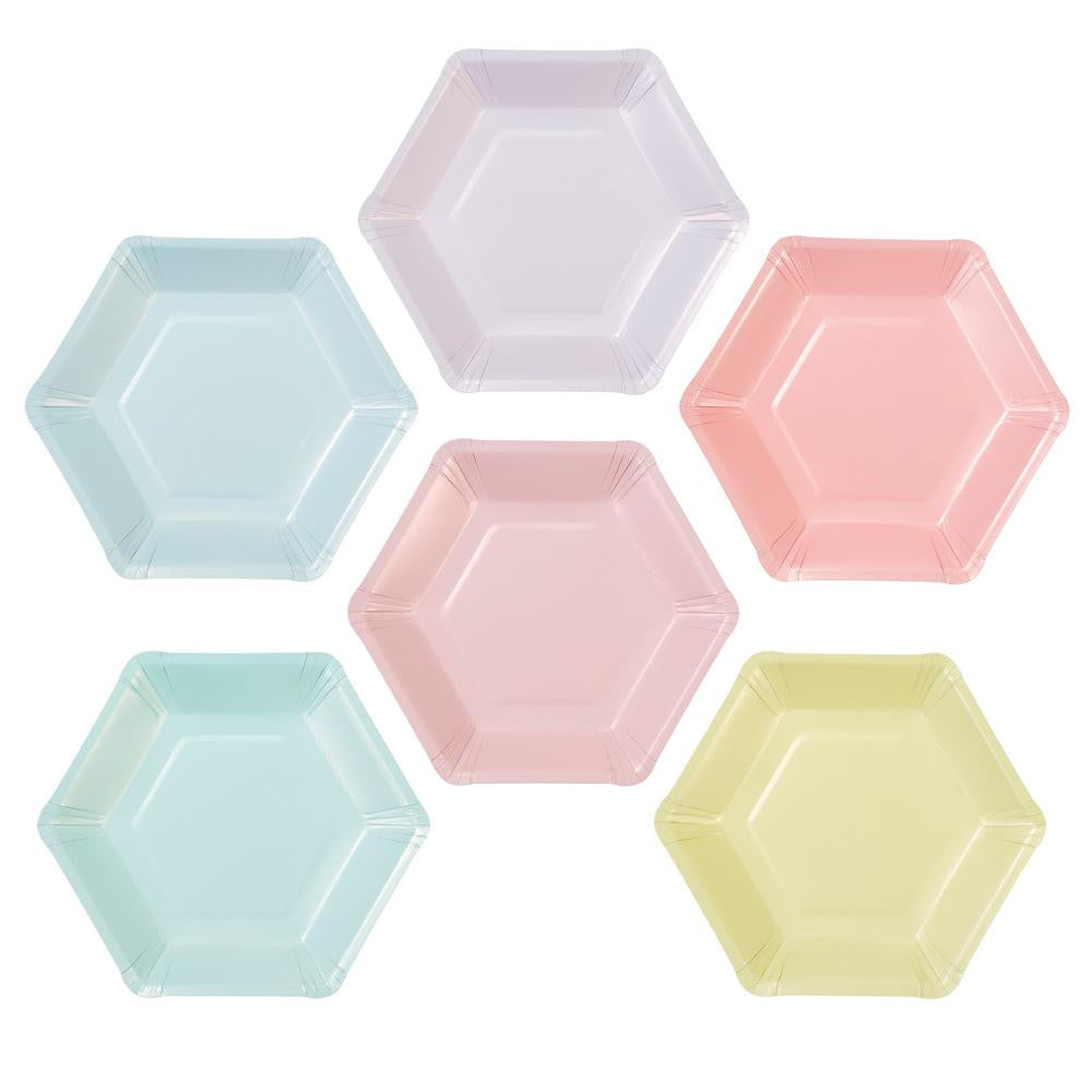 Pastel Hexagonal Small Paper Plates - Ellie and Piper