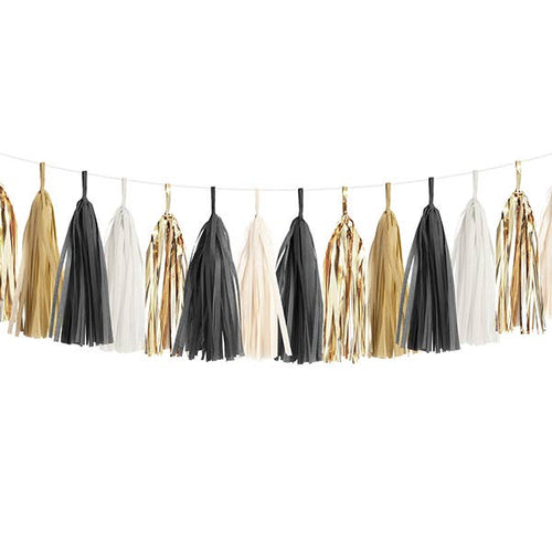 Black, White & Gold Tassel Garland Kit