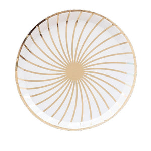 The Gatz White and Gold Dinner Paper Plates - Ellie and Piper