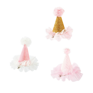 Pink Mini Fabric Clip On Party Hat - Ellie and Piper