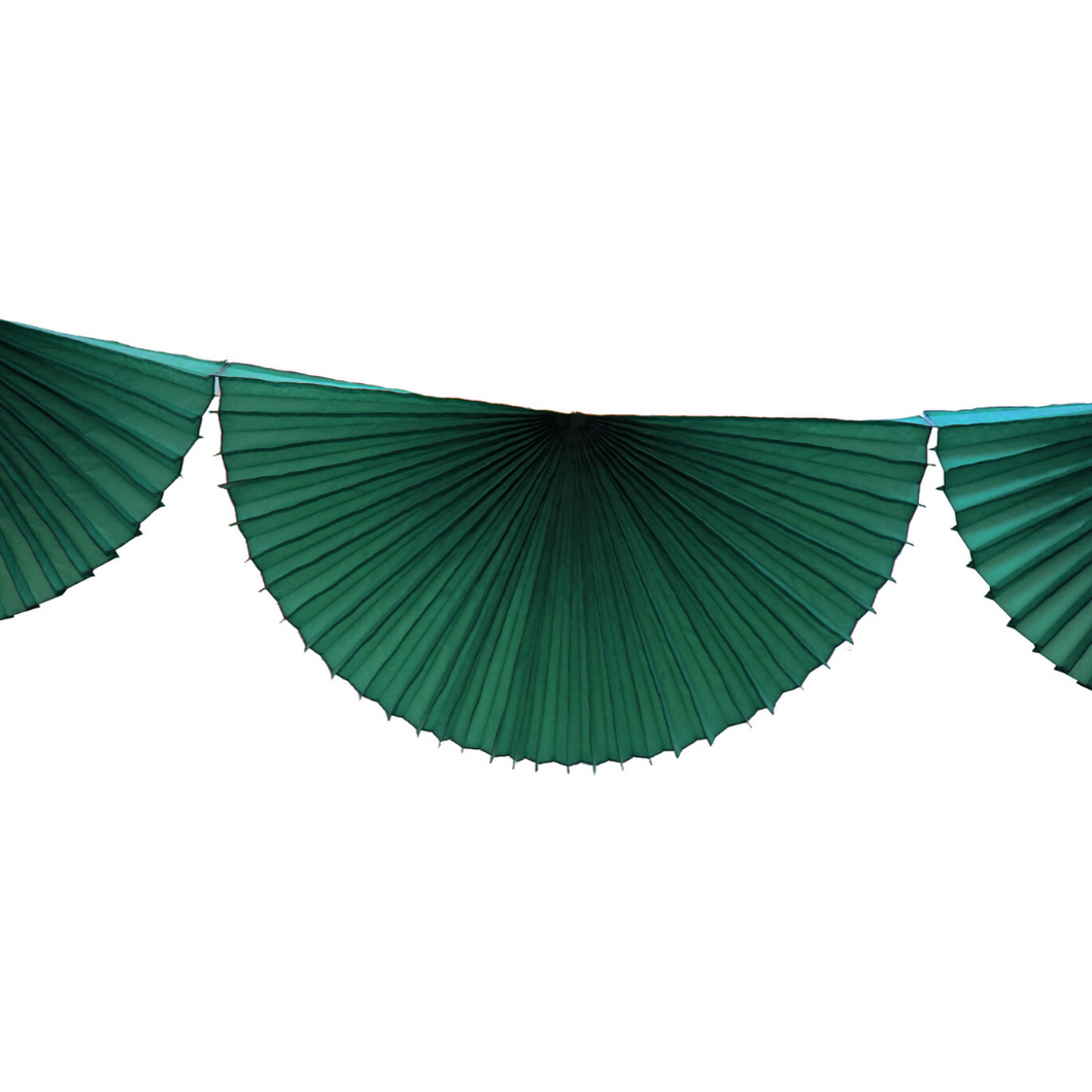 Tissue Paper Bunting Fan Garland - Dark Green - Ellie and Piper