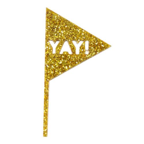 Yay Flag Cupcake Toppers - Gold Glitter