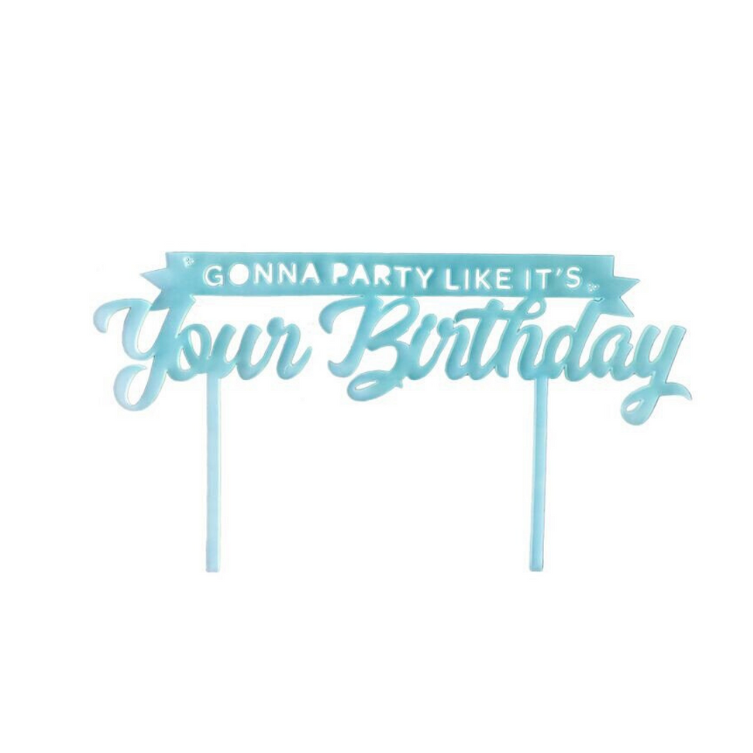 Gonna Party Like It's Your Birthday Cake Topper - Blue - Ellie and Piper