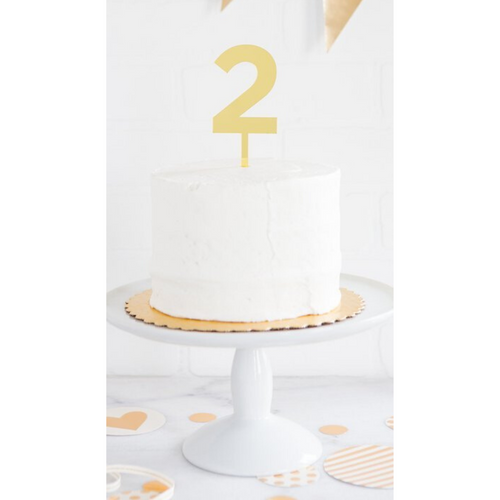Gold Mirrored Acrylic Number Cake Topper - 1 through 9 - Ellie and Piper