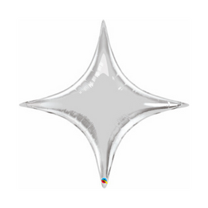 Large Four Point Metallic Silver Star Balloon - Ellie and Piper