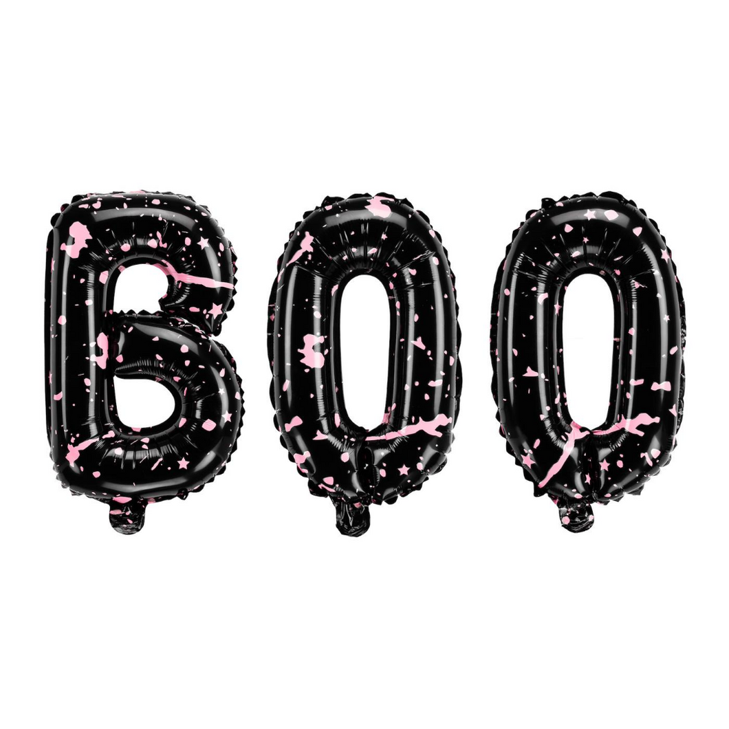 BOO Pink Paint Foil Balloons - Ellie and Piper