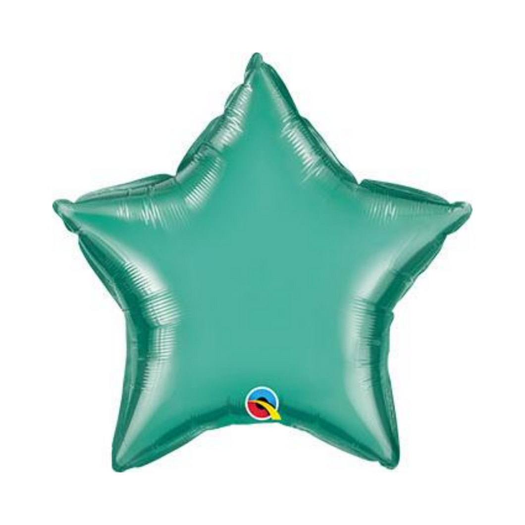 Chrome Green Star Shaped Balloon - Ellie and Piper