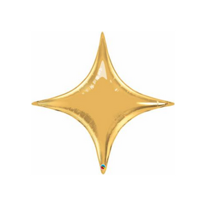 Medium Sized Four Point Metallic Gold Star Balloon - Ellie and Piper