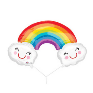 Rainbow with Happy Smiling Clouds Balloons - Ellie and Piper