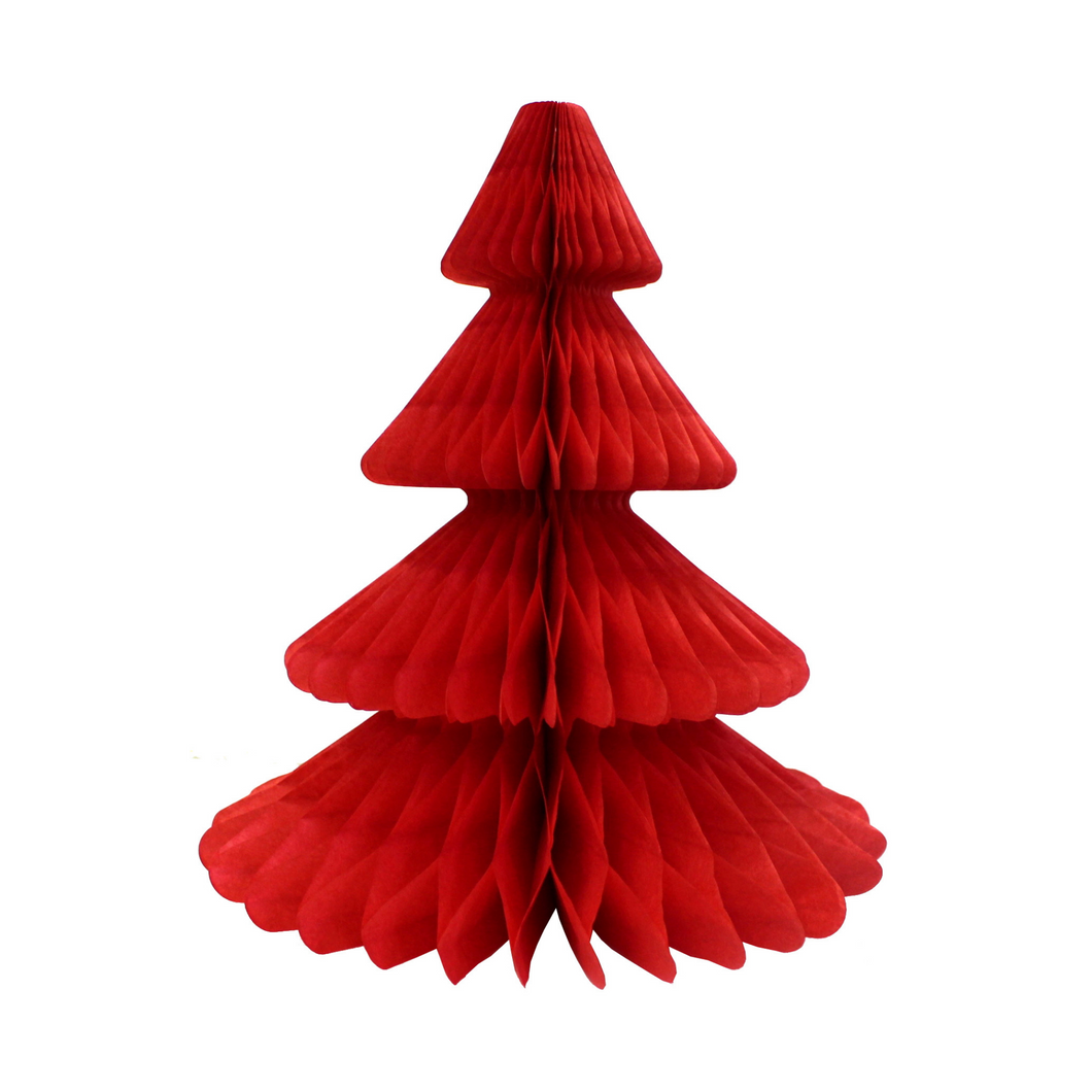 Bright Red Christmas Tree Honeycomb Decoration - Ellie and Piper