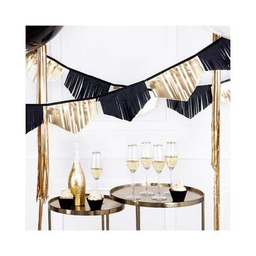 Black and Gold Scalloped Fringe Garland