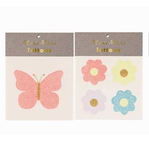 Floral Butterfly Glitter Tattoos - Ellie and Piper
