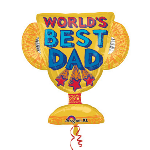 World's Best Dad Trophy Balloon - Ellie and Piper