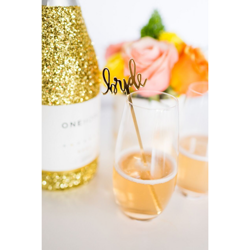 Bride Gold Acrylic Single Cocktail Stirrer & Cake Topper - Ellie and Piper