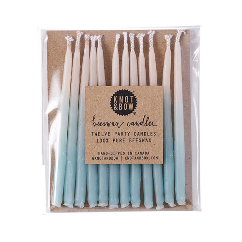 Aqua Blue Ombré Beeswax Party Candles - Ellie and Piper