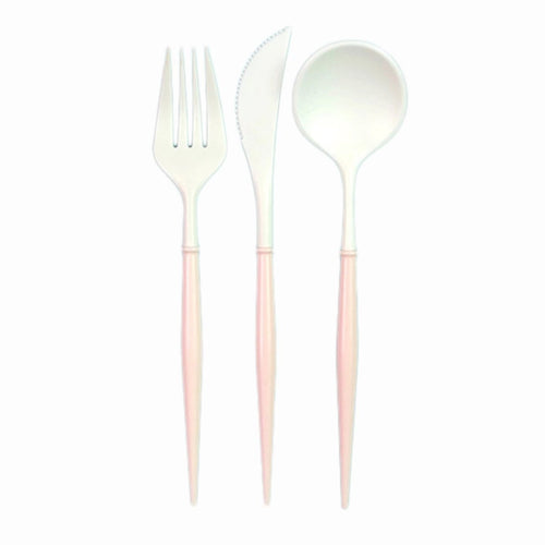 White And Blush Pink 24pc Assorted Cutlery Set Ellie & Piper Party Boutique