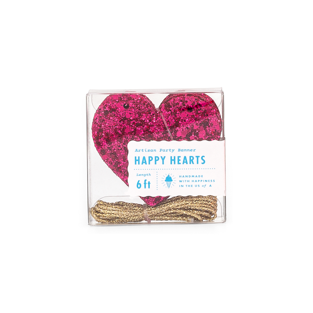 Wildberry Glitter Heart Banner - Ellie and Piper