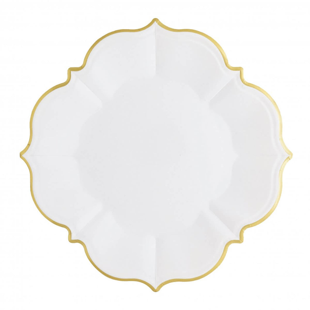 Ornate Bright White Large Paper Plates - Ellie and Piper