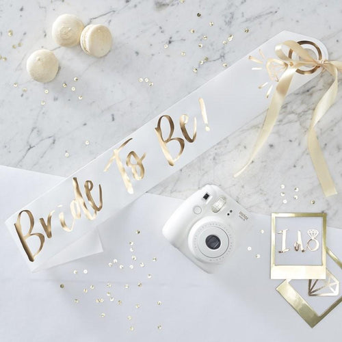 White & Gold Foiled Bride to Be Sash - Ellie and Piper