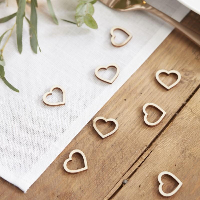 Wooden Heart Table Confetti