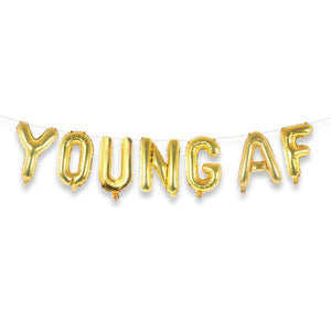 "YOUNG AF 16"" Gold Foil Letter Balloon Banner Kit - Ellie and Piper"