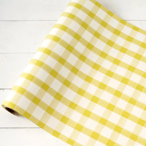 Dark Golden Yellow Painted Gingham Checkered Table Runner