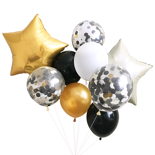 Black and Gold Balloon Bouquet - Ellie and Piper