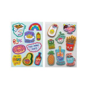 The ultimate sticker stash for quirky fun! These quirky fun desserts and other treats stickers are perfect for bringing more jazz to your planner, notebook or journal.  Over 200 stickers (1 puffy sticker sheet, 1 vinyl sticker sheet, 6 paper sticker sheets) 1 reusable folder to stash your stickers.