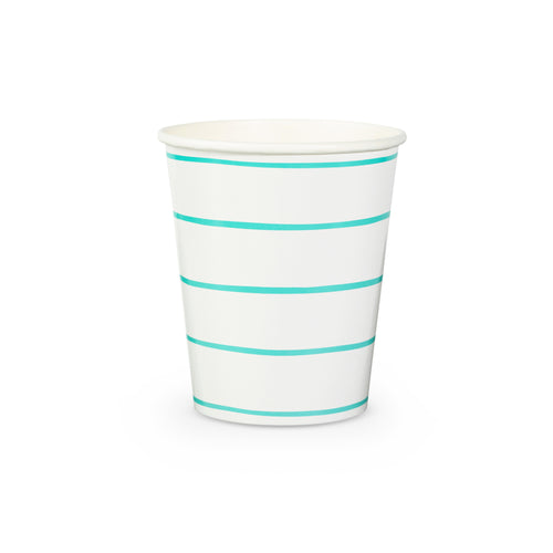 Frenchie Striped Cups - Aqua Blue - Ellie and Piper