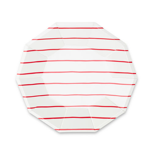 Frenchie Striped Large Paper Plates - Candy Apple Red - Ellie and Piper